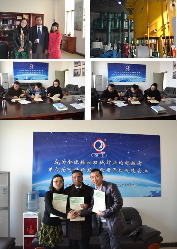 企鵝榨油機廠家與客戶簽訂合同